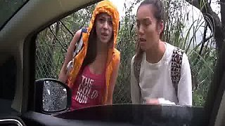These hitchhiking webcam girls loves playing with each other in the backseat