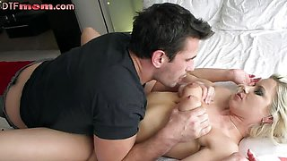 Cute Pussylicked blonde MILF riding big dick