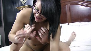 Curvy 18 year old black chick fucked in glasses