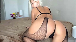 Blonde in Stockings Shaking Her Fat Ass