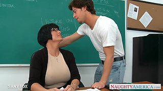 Cock hungry professor Shay Fox is having sex with her student