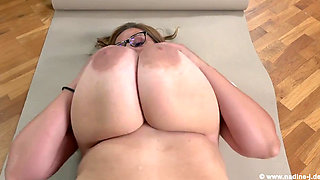 Nadine Jansen Stops Packing To Play With Her Tits