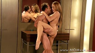 Mom xxx: Couple making love on the bathroom floor