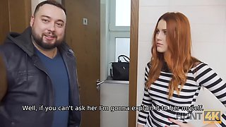 HUNT4K. Beautiful redhead fucked by a stranger in the bathroom in front of her boyfriend