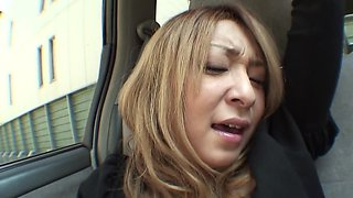 Blonde Japanese lady has her hairy snatch stuffed by some toys