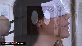 Busty blindfolded Italian wife sucks and fucked in threesome