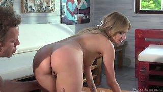 Horny stud Rocco Siffredi fucks Angel Piaff and her sexy girlfriend