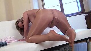 Hyper Beautiful girl in shiny PANTYOSE Stripping !!