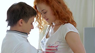 Homemade video of passionate sex with cute redhead GF Entice