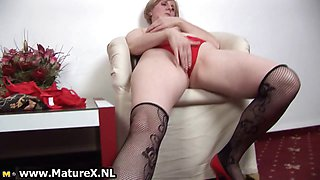 Horny old mom stripping in a sexy part5