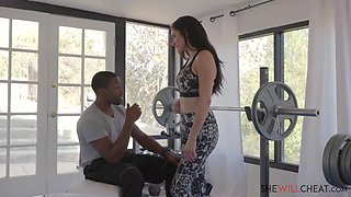Slutty brunette is cheating on her partner with a handsome, black guy, in the gym