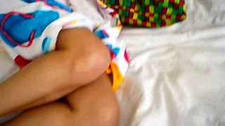 Stacked brunette milf drilled by a hung monster on the bed