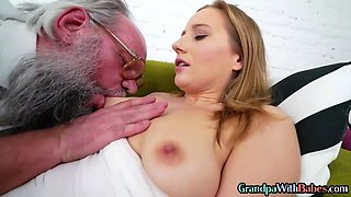 Babe sucks off old man before riding and rimming in duo