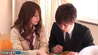Japanese sexy college girl provokes her teacher