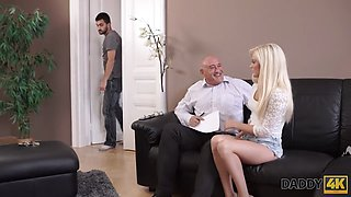 DADDY4K. Nice girl tastes old dick and gets tight pussy penetrated