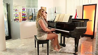 Lesbian Piano Lesson - Busty Mom Teaching Sex Young Student