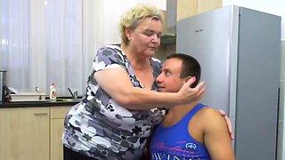 Wet, fat, beautiful granny enjoying sex