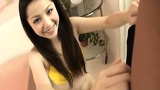 Rina Koizumi Asian teen in yellow bikini gets hairy pussy
