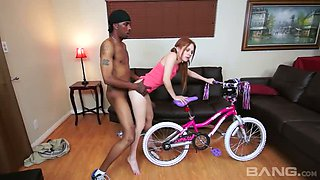 Red haired slutty teen Jennifer Andersson fucks with black brutal stud