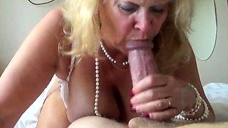 Blonde granny loves to suck huge cock