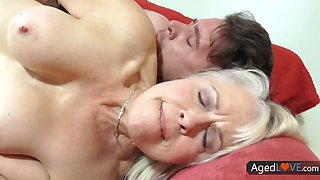 Lusty blonde cougar gets her mature pussy fucked from behind really hard