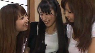 Japanese Big Boobs, Lesbian Tongue Kissing, Tribbing, 3-way