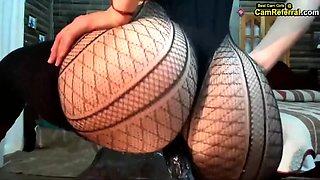 White girl with beautiful huge ass in fishnets