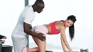 BBC loving babe anally pounded in gym