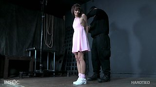 Submissive petite Latina screams while being abused in bondage