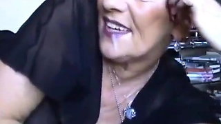 Granny talks with cum in her mouth