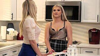 StrapOn Lesbian with big boobs fucks her blonde sexy GF