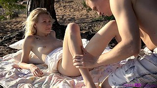 Amazing outdoors video with small boobs blonde girlfriend Mariana