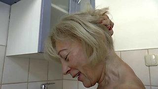 Nice German granny takes facial