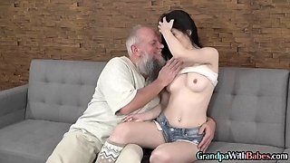 Babe rides old mans cock in fetish duo before cumshot