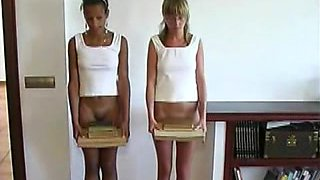 Two buxom nubile hotties get some spanking