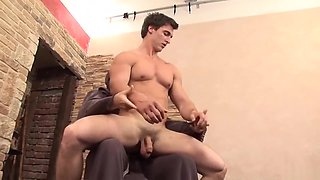 Muscle guy tickled