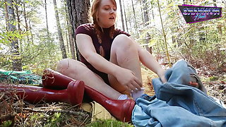 Piss Slut Nearly Caught Fapping in Forest - Shannon Heels