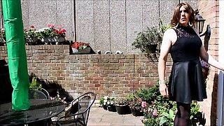 Alison's wanking in the garden again - Sexy Crossdresser