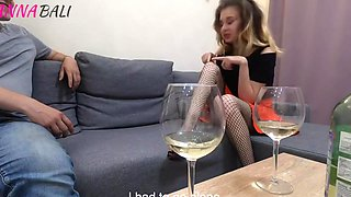 Drunk Russian Girl In Stockings Has Home Sex On The Couch