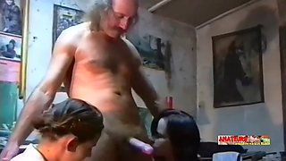 two bisexual pregnant women and the old furrier threesome