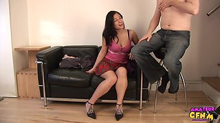 Cock hungry brunette Lexy takes his hard prick in her mouth
