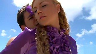 Make love on beach with purple silk blouse on to satisfy satin fetish