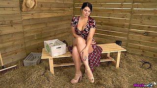 Big tittied British babe Kylie K teases with her big assets