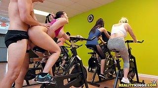 rachel starr gets banged on the gym bike