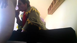 Cute brunette in a funny costume gets rammed from behind