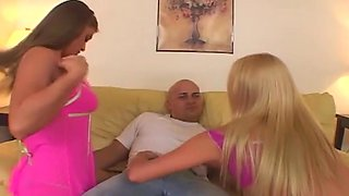Bald Guy Luckily Anal Fucks Two Hot Babes
