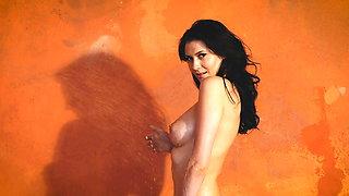 Striptease and shower brunette beauty