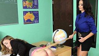 Lesbian schoolgirls dominate their teacher