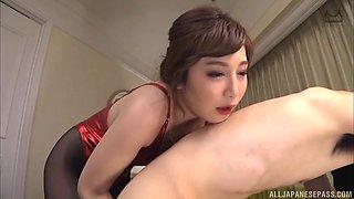 Lovely girl Sasaki Aki knows how to satisfy a hairy pecker