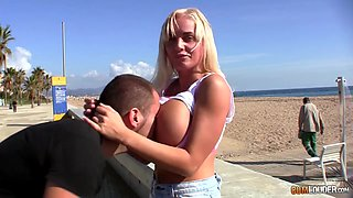 Blond Barbi shows of her fake boobs in public and gets laid indoor